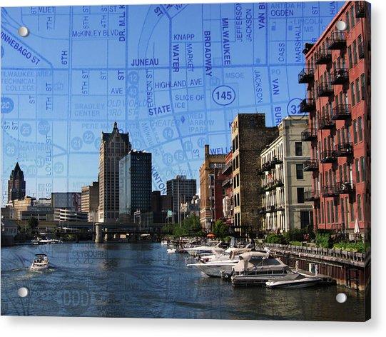 3rd Ward River Boats W Map 2 Acrylic Print