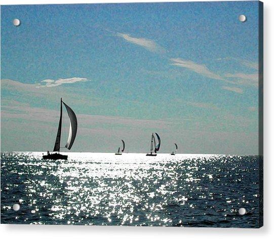 4 Boats On The Horizon Acrylic Print