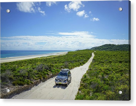 4wd Car Exploring Remote Track On Sand Island Acrylic Print