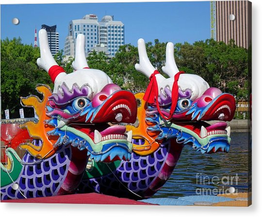 Traditional Dragon Boats In Taiwan Acrylic Print