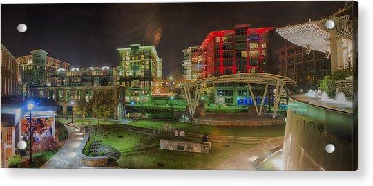 Greenville South Carolina Near Falls Park River Walk At Nigth. Acrylic Print