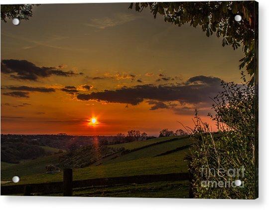 A Beautiful Sunset Over The Surrey Hills Acrylic Print
