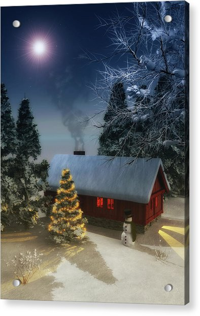 Acrylic Print featuring the painting  A Cold Winter by Jan Keteleer