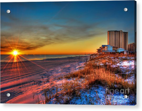 A December Beach Sunset Acrylic Print