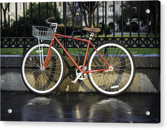 A Red Bicycle Near Jackson Square, New Orleans, Louisian Acrylic Print