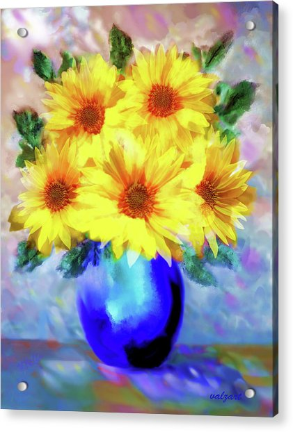Acrylic Print featuring the painting A Vase Of Sunflowers by Valerie Anne Kelly