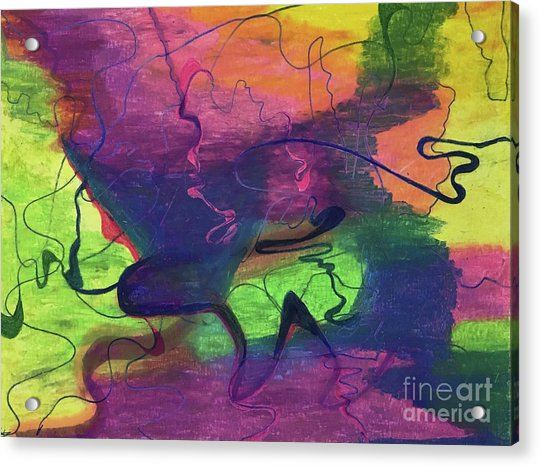 Colorful Abstract Cloud Swirling Lines Acrylic Print