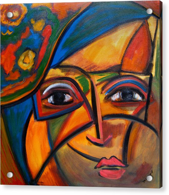 Abstract Woman With Flower Hat Acrylic Print