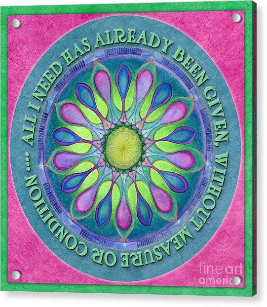 Abundance Mandala Prayer Acrylic Print