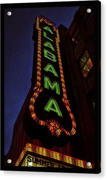 Alabama Lights Poster Narrow Format Acrylic Print