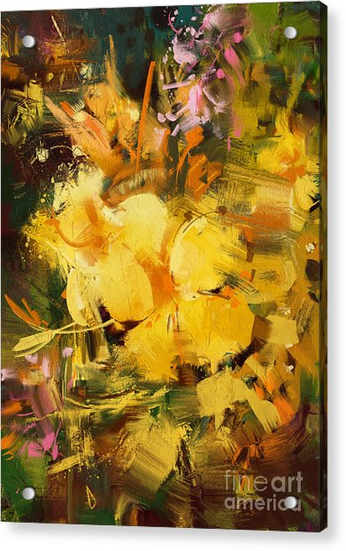 Acrylic Print featuring the painting Allamanda by Tithi Luadthong