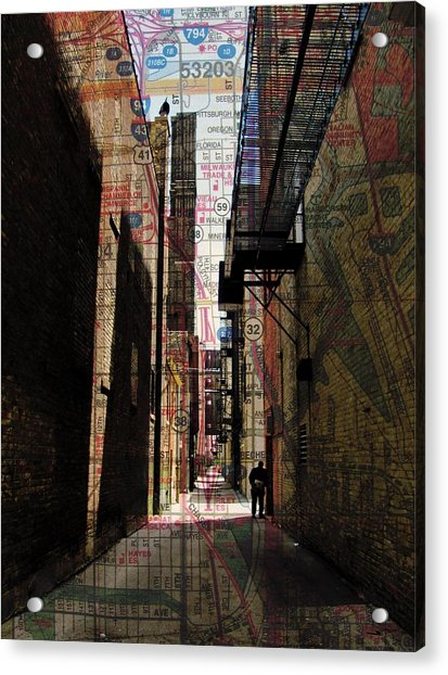 Alley And Guy Reading W Map Acrylic Print