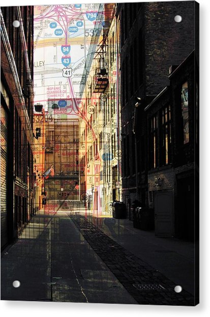 Alley Front Street W Map Acrylic Print