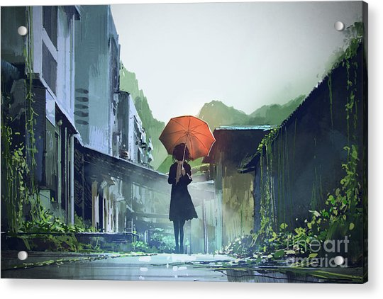 Acrylic Print featuring the painting Alone In The Abandoned Town by Tithi Luadthong