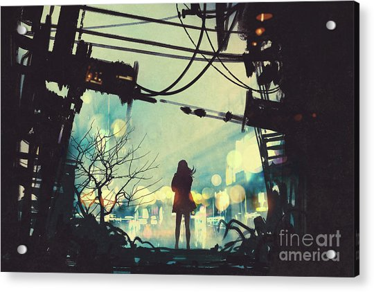 Acrylic Print featuring the painting Alone In The Abandoned Town#2 by Tithi Luadthong