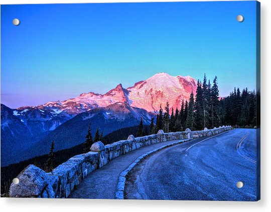 Alpenglow At Mt. Rainier Acrylic Print