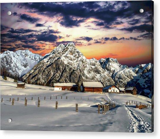 Alpine Winter Scene Acrylic Print
