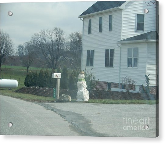 An Amish Snowman Acrylic Print