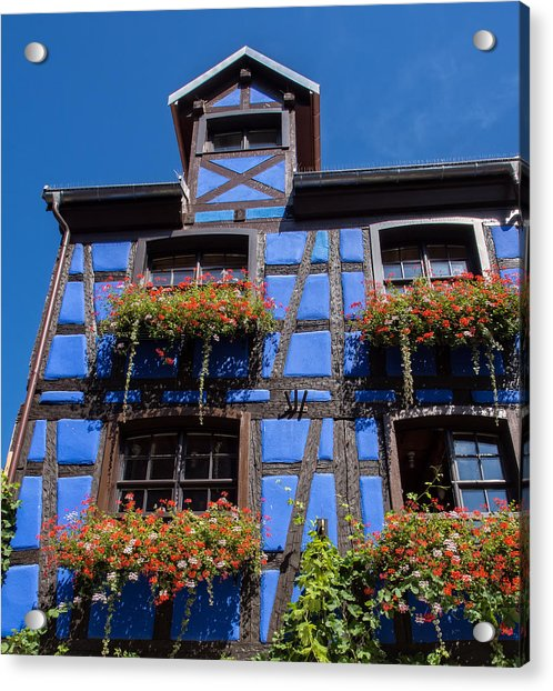 Ancient Alsace Auberge In Blue Acrylic Print