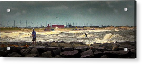 Angry Surf At Indian River Inlet Acrylic Print
