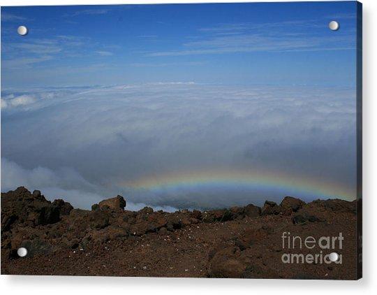 Anuenue - Rainbow At The Ahinahina Ahu Haleakala Sunrise Maui Hawaii Acrylic Print