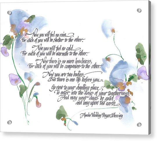 Apache Wedding Prayer Blessing Acrylic Print