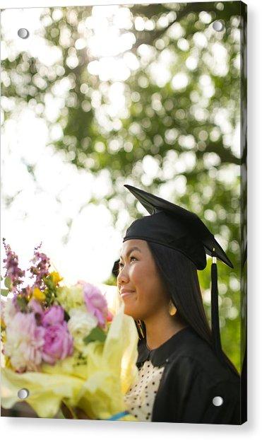 Asian Girl In Graduation Cap Acrylic Print by Gillham Studios