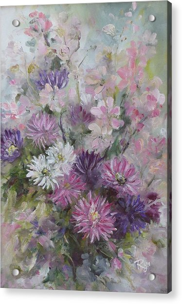 Asters And Stocks Acrylic Print