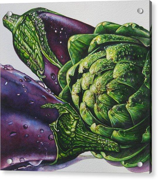 Aubergines And An Artichoke Acrylic Print