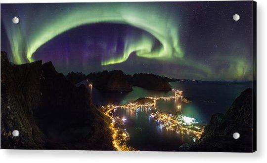 Aurora Above Reine Acrylic Print