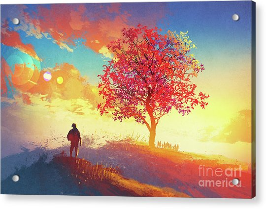 Acrylic Print featuring the painting Autumn Sunrise by Tithi Luadthong
