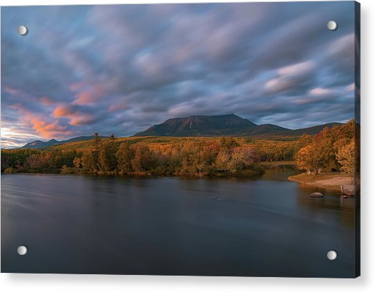 Autumn Sunset At Mount Katahdin Acrylic Print