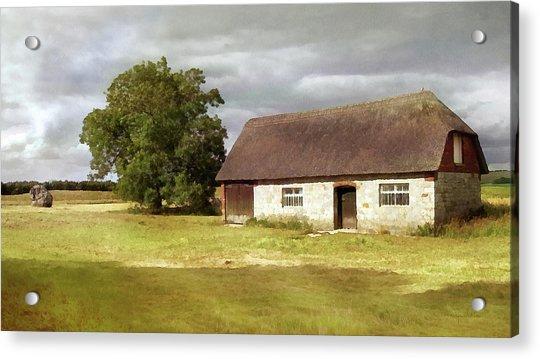 Avebury Cottage Tree And Standing Stone Acrylic Print