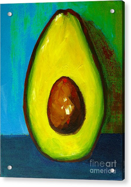 Avocado, Modern Art, Kitchen Decor, Blue Green Background Acrylic Print