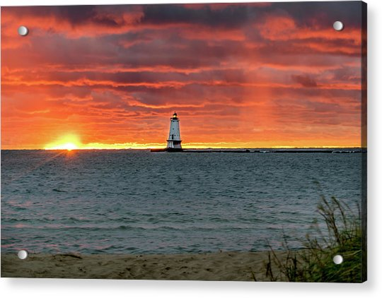 Awesome Sunset With Lighthouse  Acrylic Print