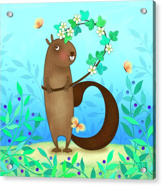 B Is For Beaver With A Blossoming Branch Acrylic Print