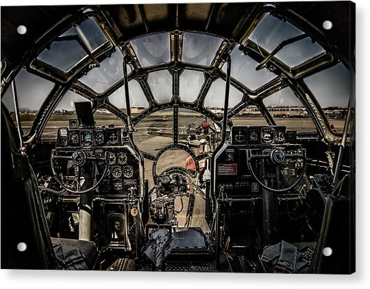 Acrylic Print featuring the photograph B29 Superfortress Fifi Cockpit View by Chris Lord