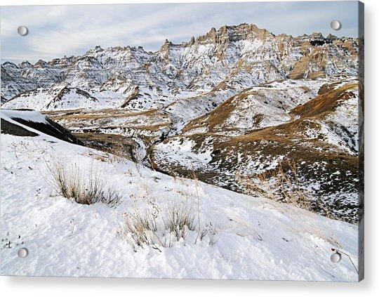 Badlands In Snow Acrylic Print