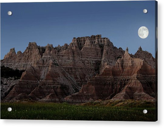 Acrylic Print featuring the photograph Badlands Moon Rising by Jemmy Archer