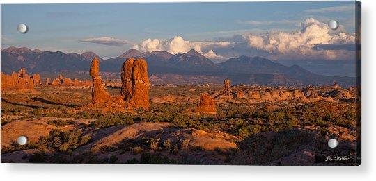 Balanced Rock And Summer Clouds At Sunset Acrylic Print