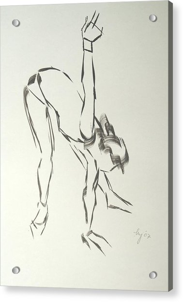 Ballet Dancer Bending And Stretching Acrylic Print