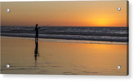Beach Fishing At Sunset Acrylic Print