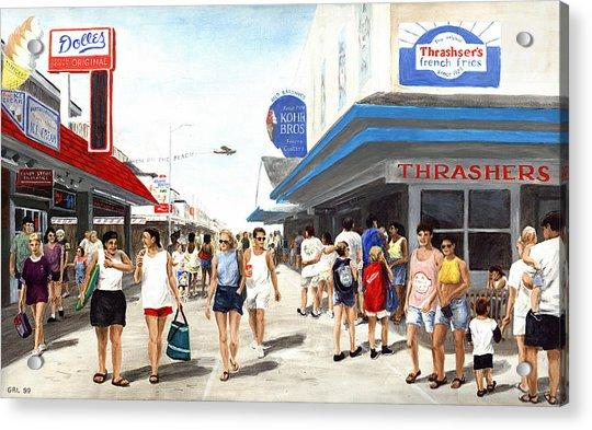 Beach/shore I Boardwalk Ocean City Md - Original Fine Art Painting Acrylic Print