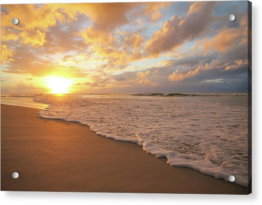 Beach Sunset With Golden Clouds Acrylic Print