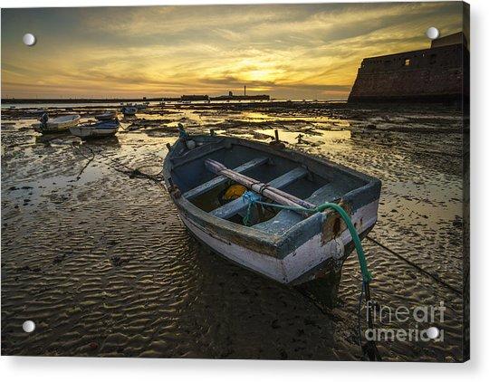 Beached Boat On La Caleta Cadiz Spain Acrylic Print