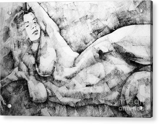 Beautiful Young Girl Pencil Art Drawing Acrylic Print