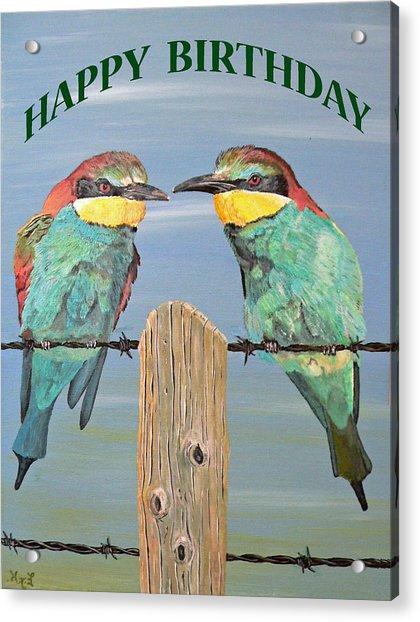 Bee Eaters Happy Birthday Acrylic Print