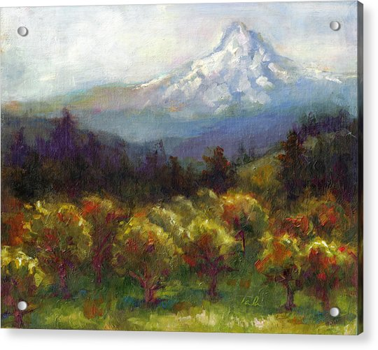 Acrylic Print featuring the painting Beyond The Orchards by Talya Johnson