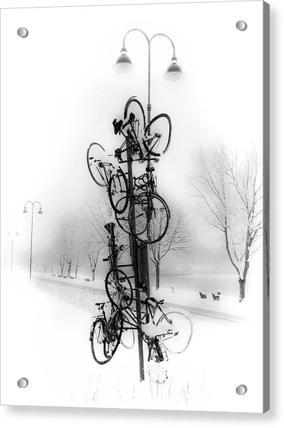 Bicycle Lamppost In Winter Acrylic Print