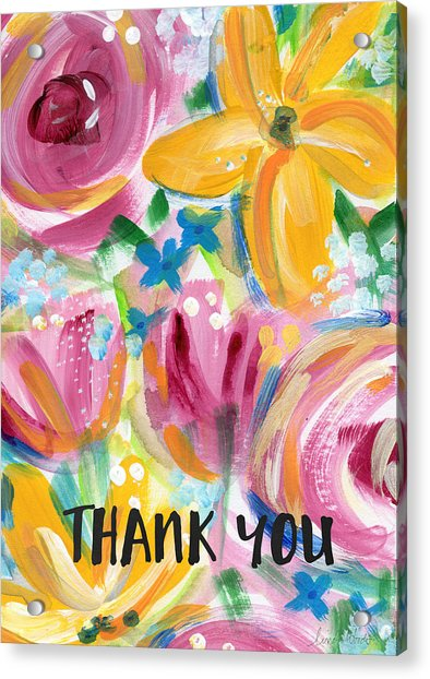 Big Colorful Flowers Thank You Card- Art By Linda Woods Acrylic Print
